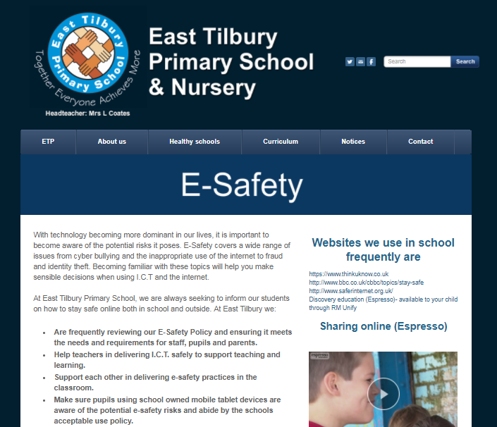 E-Safety - East Tilbury Primary School